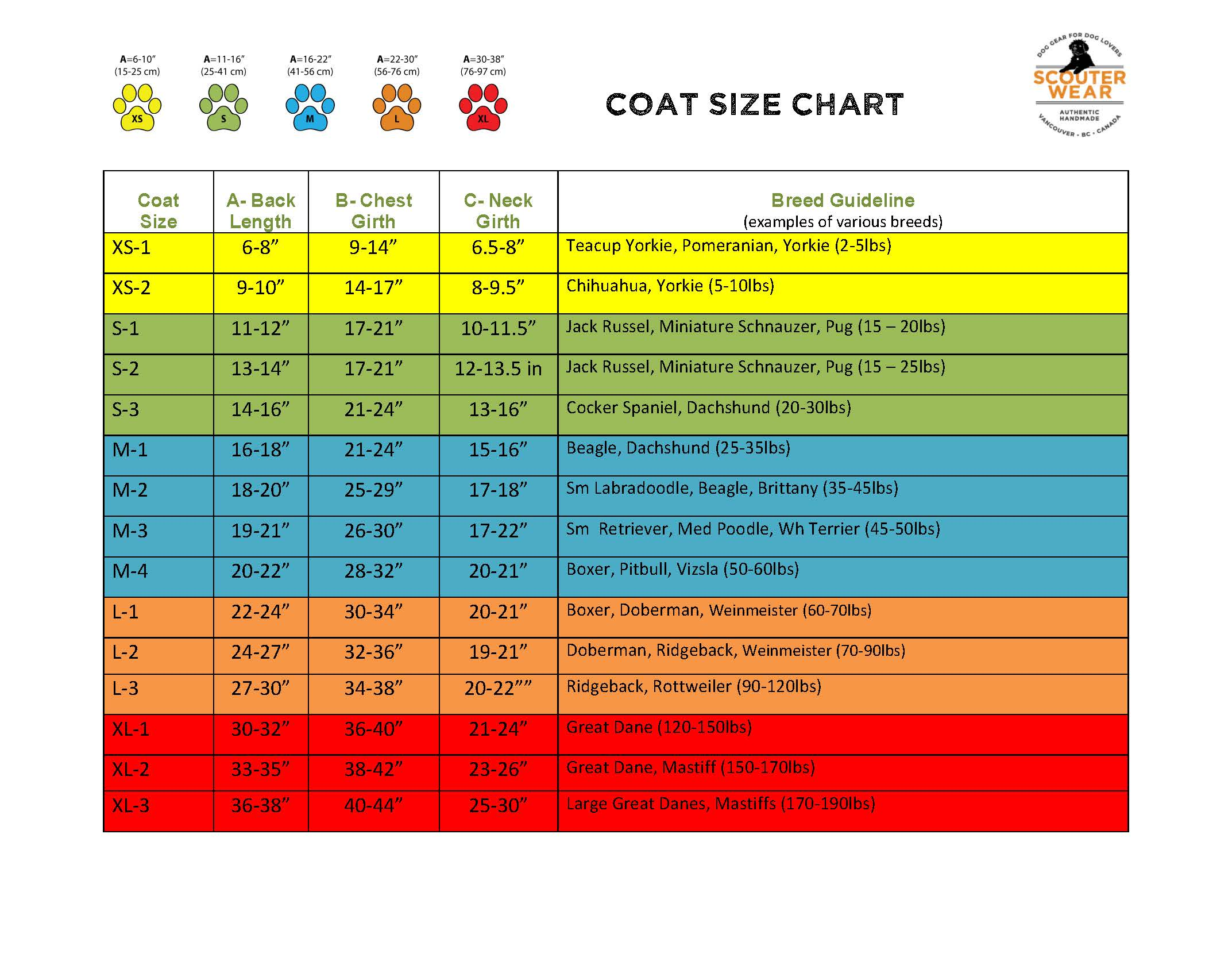 Scouter Wear coat sizing chart