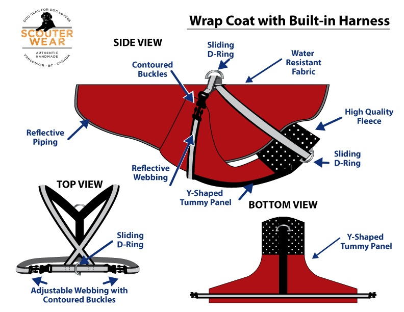 Wrap Style Coat with Built-in Harness